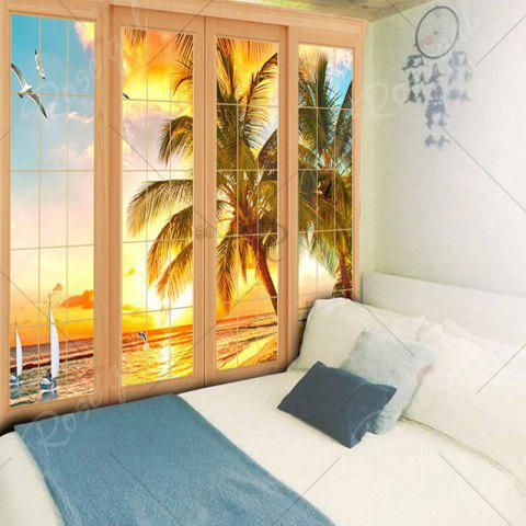Chic Wall Art Window Coconut Tree Print Tapestry - W79 INCH * L59 INCH YELLOW Mobile