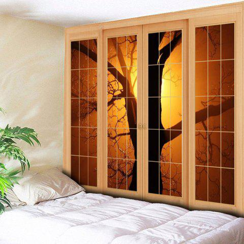 Chic Wall Hanging Window Tree Printed Tapestry - W59 INCH * L51 INCH YELLOW Mobile