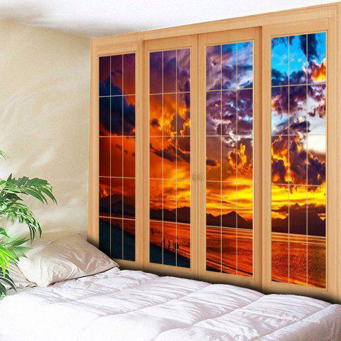 New Window Evening Glow Wall Decor Tapestry - W59 INCH * L51 INCH YELLOW Mobile
