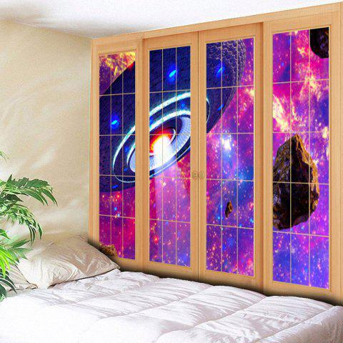 Sale Window Flying Saucer Print Wall Art Tapestry - W59 INCH * L51 INCH PURPLE Mobile