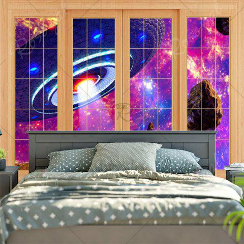 Hot Window Flying Saucer Print Wall Art Tapestry - W79 INCH * L59 INCH PURPLE Mobile