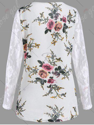 Online Lace Panel Floral Print Plus Size Top - 5XL WHITE Mobile