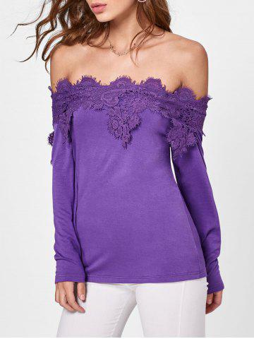 Hot Lace Insert Off The Shoulder T-shirt