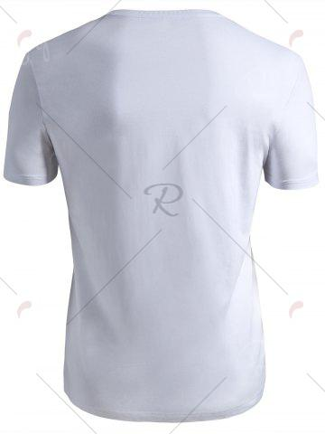 Hot Ribbed Collar Short Sleeve T-shirt - 2XL WHITE Mobile