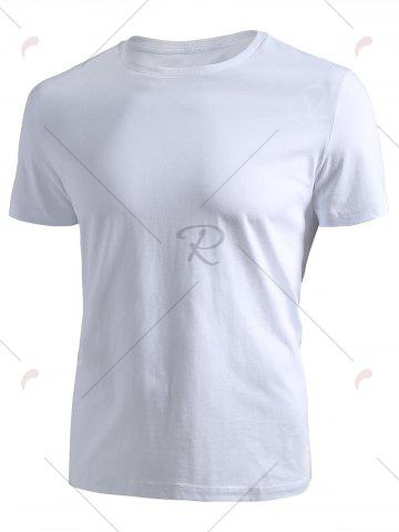 Buy Ribbed Collar Short Sleeve T-shirt - 2XL WHITE Mobile