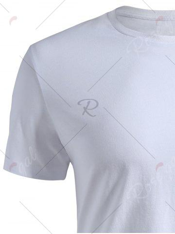 Best Ribbed Collar Short Sleeve T-shirt - 2XL WHITE Mobile