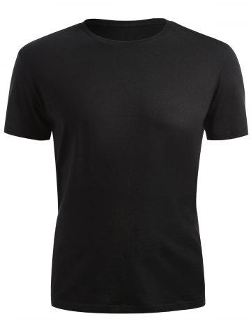 Cheap Ribbed Collar Short Sleeve T-shirt - 2XL BLACK Mobile