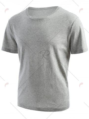 Buy Ribbed Collar Short Sleeve T-shirt - L GRAY Mobile