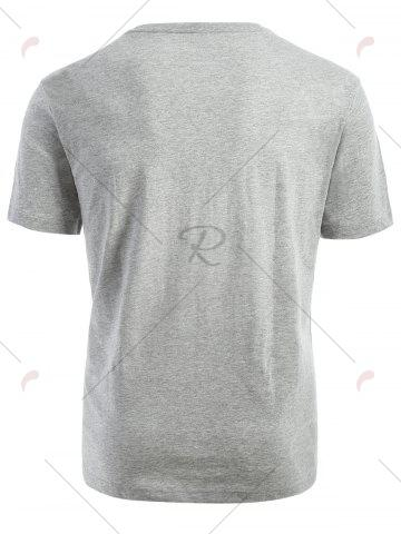 Fashion Ribbed Collar Short Sleeve T-shirt - M GRAY Mobile