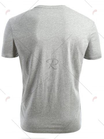 Affordable Short Sleeved V Neck T-shirt - 2XL GRAY Mobile
