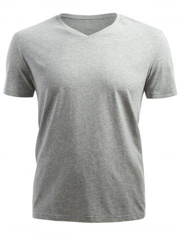 Affordable Short Sleeved V Neck T-shirt - L GRAY Mobile