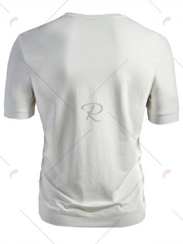Chic Crew Neck Plain T-shirt - L WHITE Mobile