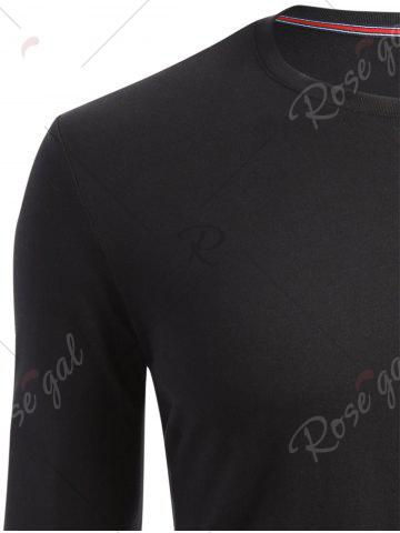 Latest Crew Neck Long Sleeve T-shirt - M BLACK Mobile