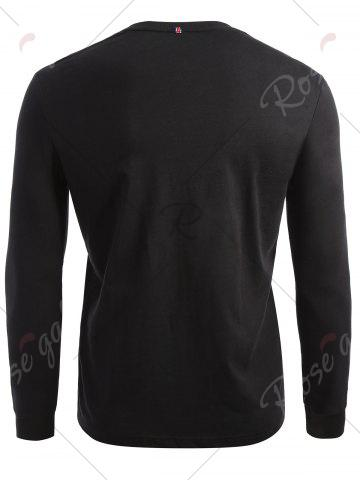 Fancy Crew Neck Long Sleeve T-shirt - 2XL BLACK Mobile