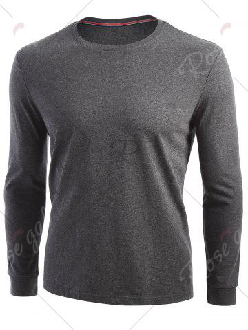 Store Crew Neck Long Sleeve T-shirt - L DARK HEATHER GRAY Mobile