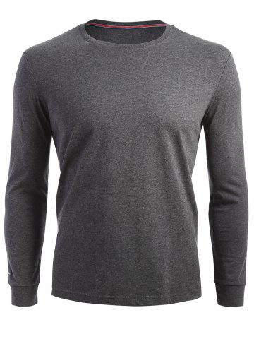 Fancy Crew Neck Long Sleeve T-shirt - L DARK HEATHER GRAY Mobile