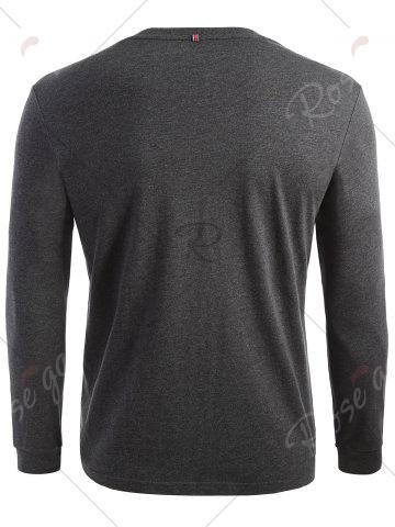 Shops Crew Neck Long Sleeve T-shirt - L DARK HEATHER GRAY Mobile