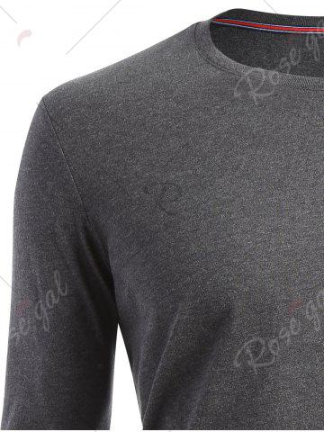 Latest Crew Neck Long Sleeve T-shirt - 2XL DARK HEATHER GRAY Mobile