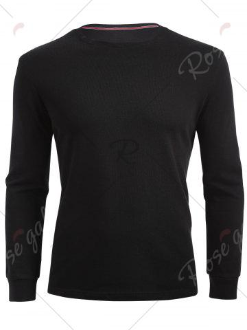 Outfits Cuffed Long Sleeve T-shirt - M BLACK Mobile