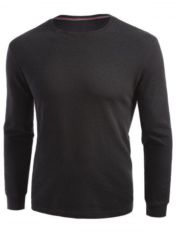 Outfits Cuffed Long Sleeve T-shirt - 2XL BLACK Mobile