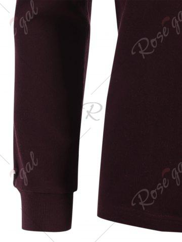 Chic Cuffed Long Sleeve T-shirt - M CLARET Mobile