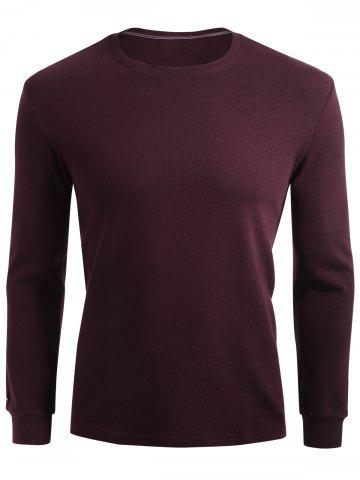 Cheap Cuffed Long Sleeve T-shirt - XL CLARET Mobile