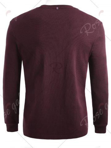 Chic Cuffed Long Sleeve T-shirt - XL CLARET Mobile