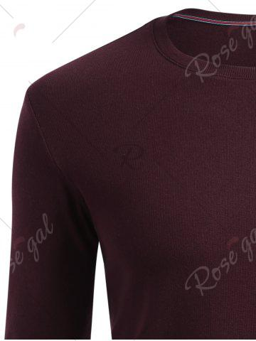 Outfits Cuffed Long Sleeve T-shirt - 2XL CLARET Mobile