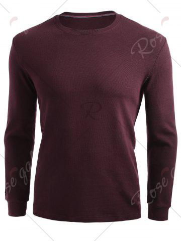 Chic Cuffed Long Sleeve T-shirt - 2XL CLARET Mobile