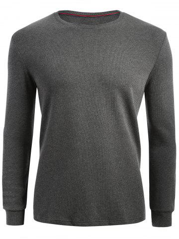 Chic Cuffed Long Sleeve T-shirt - 2XL HEATHER GRAY Mobile