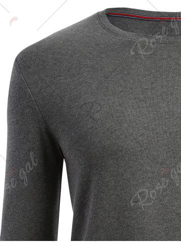 Cheap Cuffed Long Sleeve T-shirt - L HEATHER GRAY Mobile