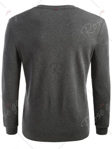 Fashion Cuffed Long Sleeve T-shirt - L HEATHER GRAY Mobile
