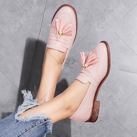 Shop Tassels Faux Leather Flat Shoes - 37 PINK Mobile