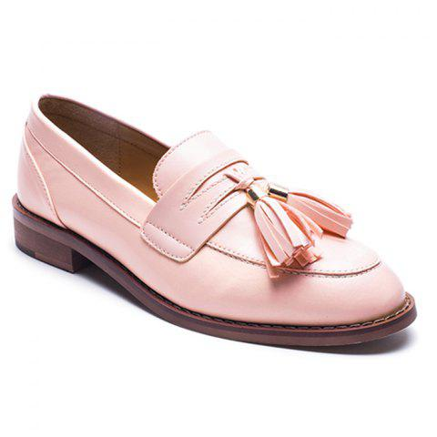New Tassels Faux Leather Flat Shoes - 37 PINK Mobile