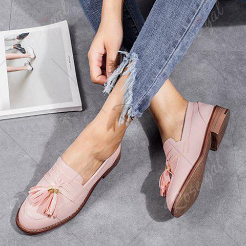 Shop Tassels Faux Leather Flat Shoes - 38 PINK Mobile