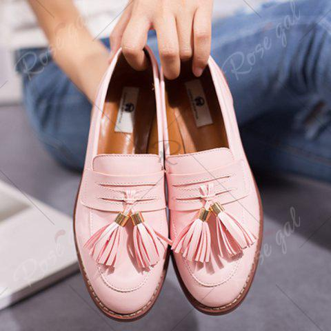Outfits Tassels Faux Leather Flat Shoes - 39 PINK Mobile