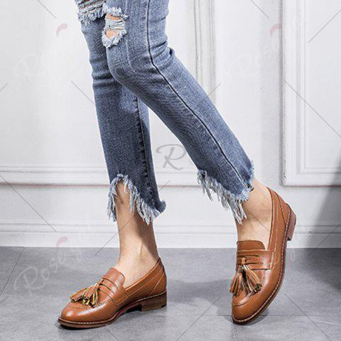New Tassels Faux Leather Flat Shoes - 39 BROWN Mobile