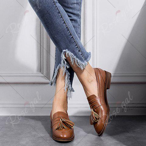 Buy Tassels Faux Leather Flat Shoes - 39 BROWN Mobile