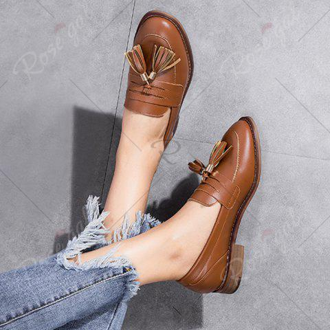 Store Tassels Faux Leather Flat Shoes - 39 BROWN Mobile