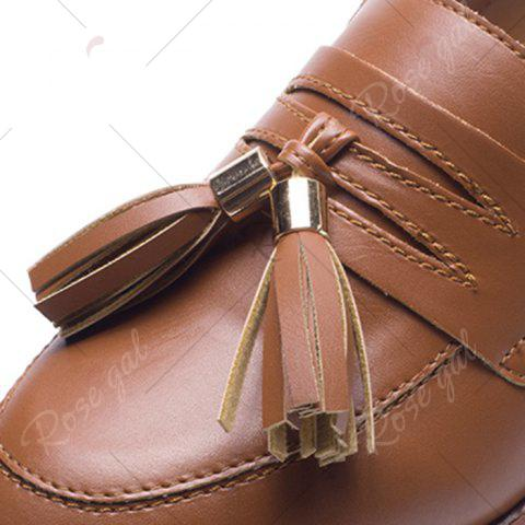 Chic Tassels Faux Leather Flat Shoes - 39 BROWN Mobile