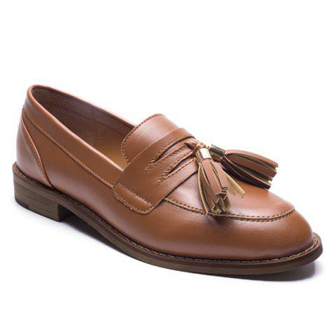 Outfits Tassels Faux Leather Flat Shoes - 39 BROWN Mobile
