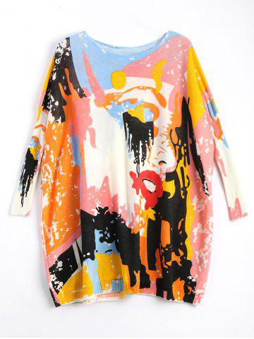 Funny Graphic Plus Size Long Sweater - Off-white - One Size
