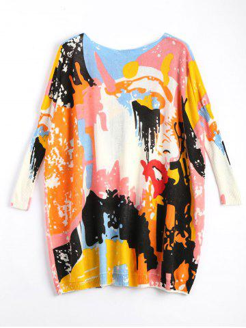 Affordable Funny Graphic Plus Size Long Sweater - ONE SIZE OFF-WHITE Mobile