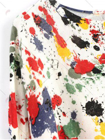 Cheap Plus Size Splash Painting Knitted Tunic Sweater - ONE SIZE RED Mobile