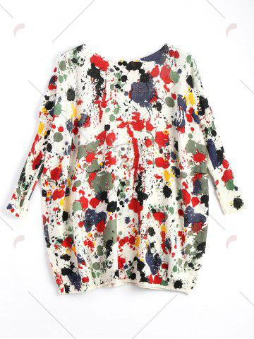 Best Plus Size Splash Painting Knitted Tunic Sweater - ONE SIZE RED Mobile