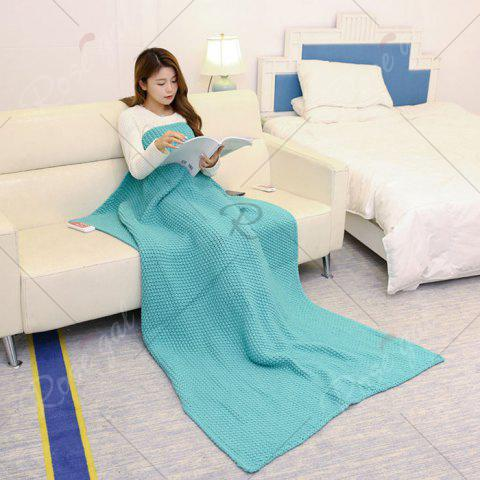 Cheap Handmade Knitted Bedding Sofa Blanket Throw - TURQUOISE GREEN 110*160CM Mobile