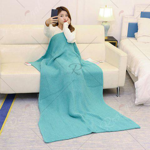 Sale Handmade Knitted Bedding Sofa Blanket Throw - TURQUOISE GREEN 110*160CM Mobile