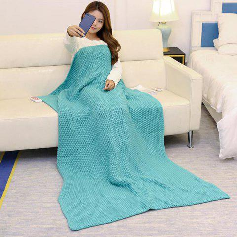 Best Handmade Knitted Bedding Sofa Blanket Throw - TURQUOISE GREEN 110*160CM Mobile