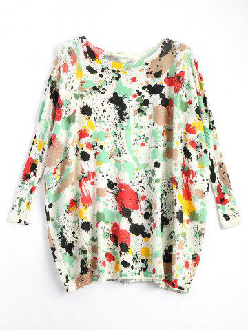 Sale Plus Size Splash Painting Knitted Tunic Sweater