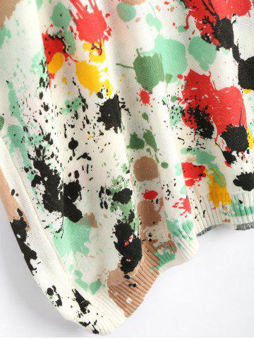 Hot Plus Size Splash Painting Knitted Tunic Sweater - ONE SIZE GREEN Mobile
